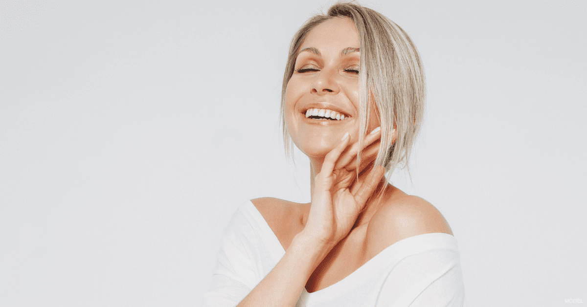 Woman in Dallas, TX who receives aesthetic treatments from her dermatologist